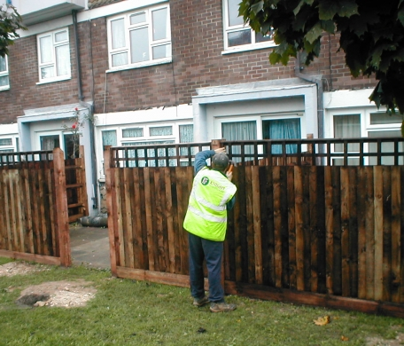 A photo of a Knight Fencing operative installing a new closeboard panel fence.