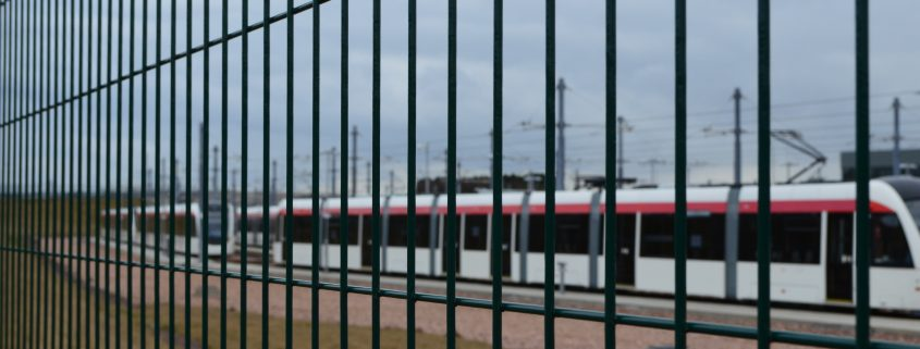 A photo of CLD Fencing Systems security fencing for edinburgh tramways depot.