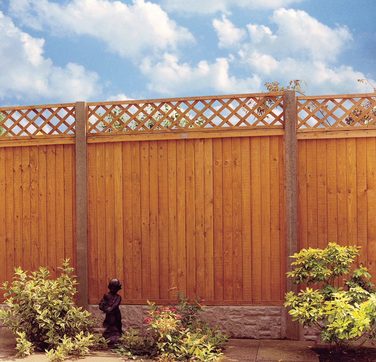 A photo of a gold closeboard fence panels with trellis