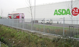 A photo of fencing we supplied and installed including vertical bar railings and Paladin FX mesh fencing, for Asda stores across the country.