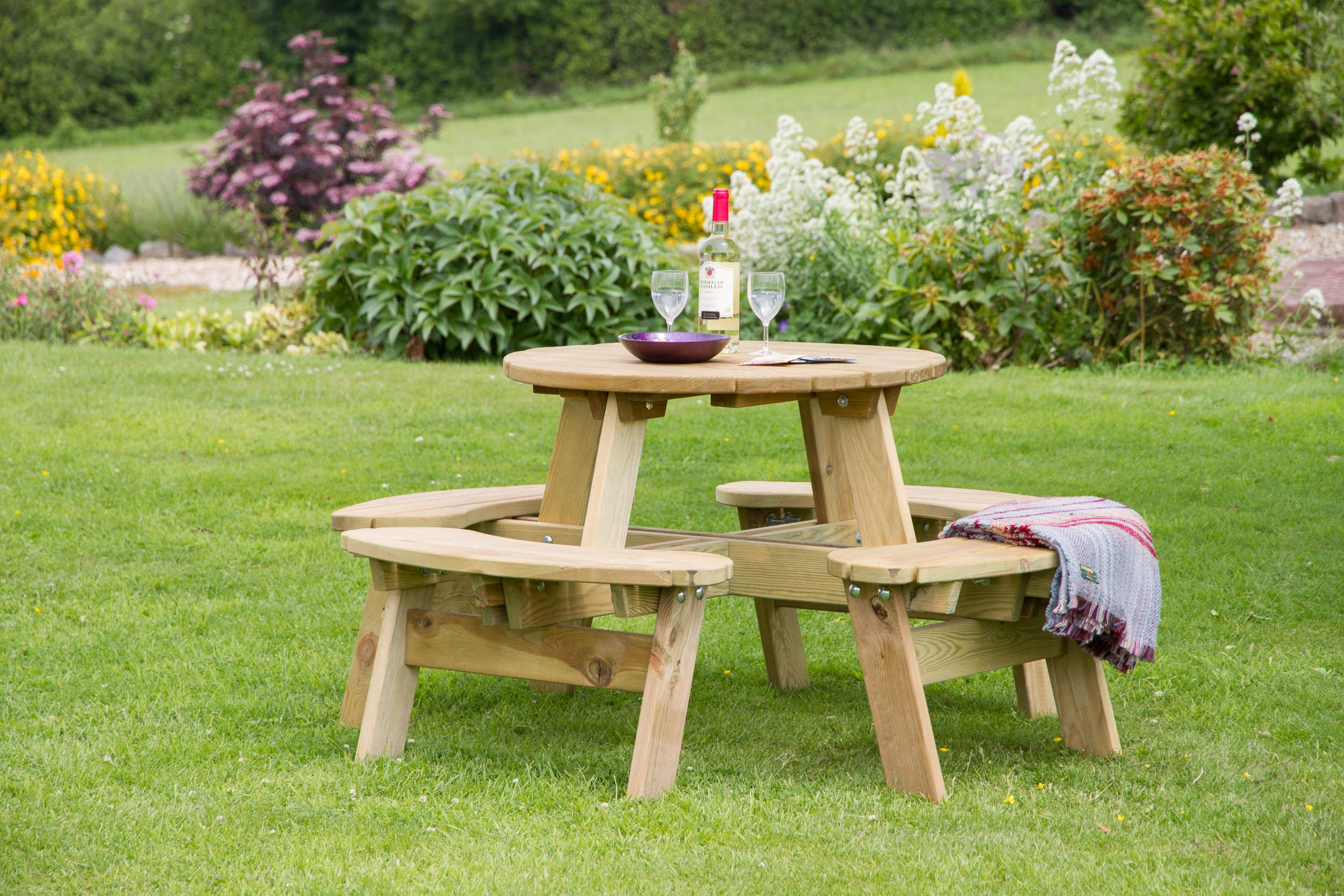 4 Seater Round Picnic Table Knight Fencing