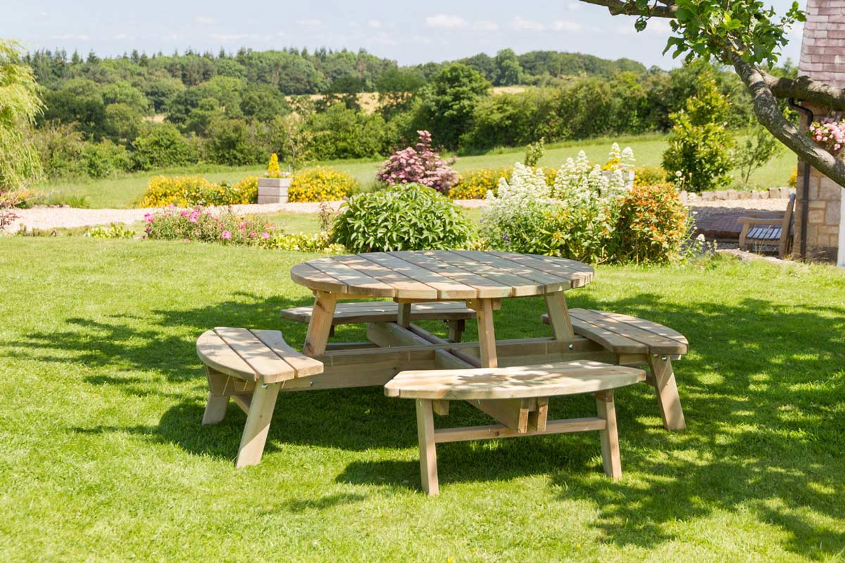 8 Seater Round Picnic Table Knight Fencing