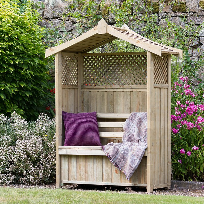 A photo of a dorset Arbour with Storage Box