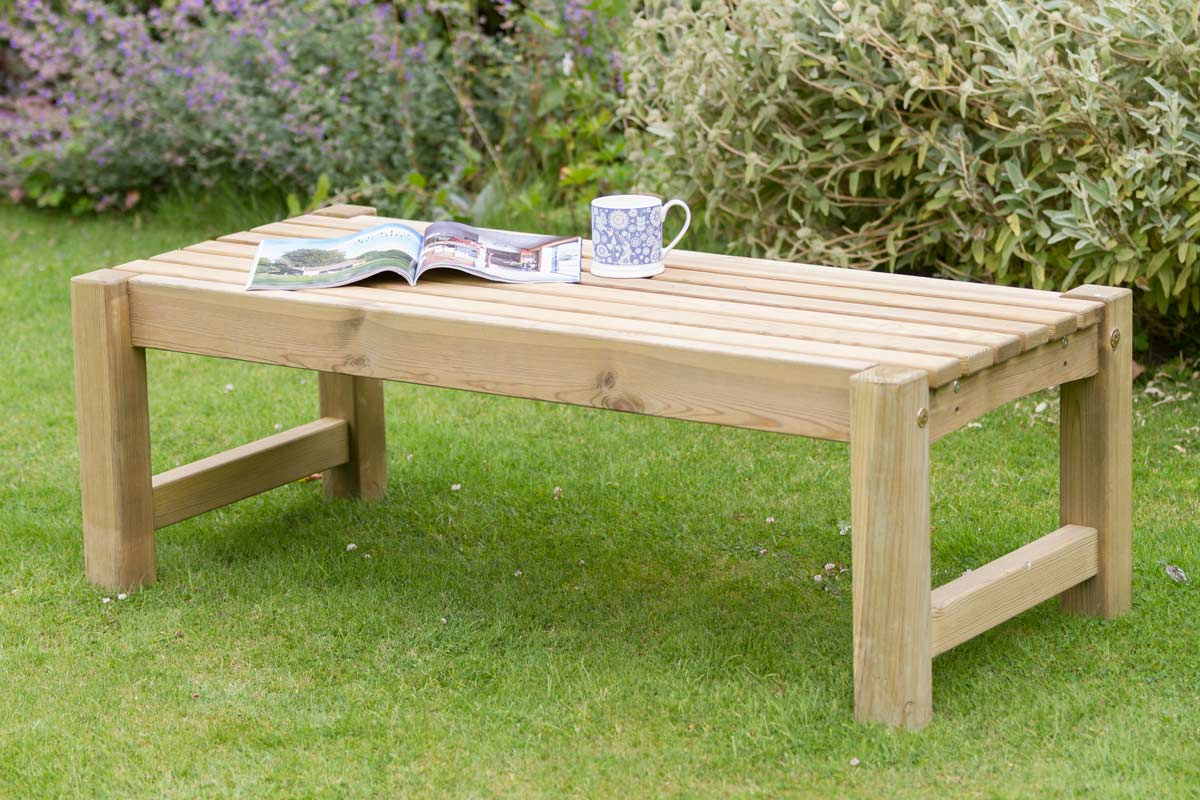 Garden Wooden Coffee Table Knight Fencing, Wooden Coffee Table For Garden
