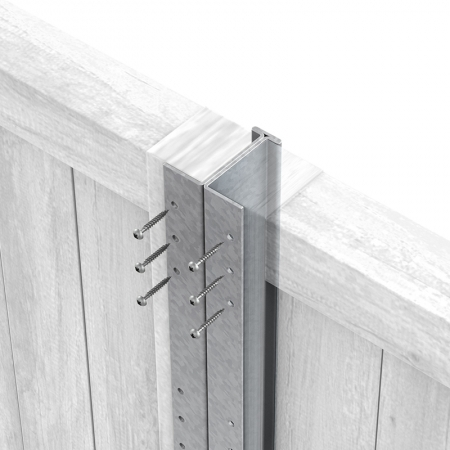 Close up of Fencemate DuraPost in Silver with screws