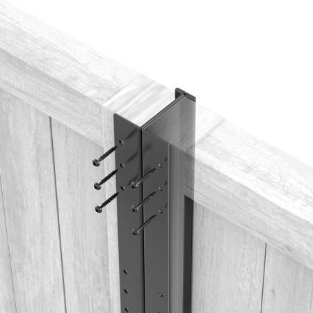 Close up of anthracite grey Fencemate DuraPost with screws