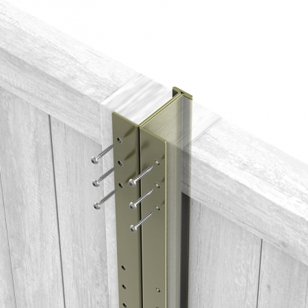 Close up of Olive Grey Fencemate DuraPost Classic with screws