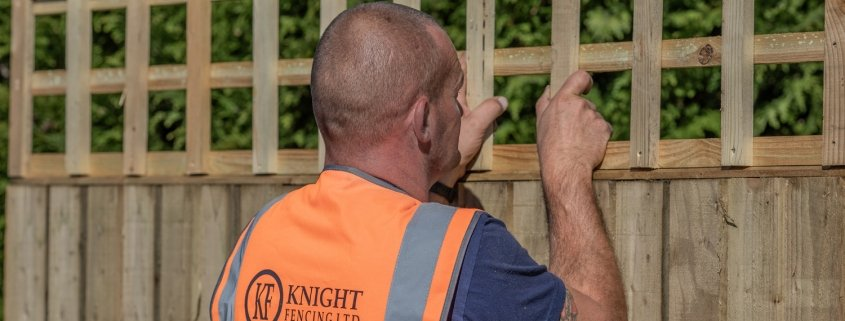 a man fitting trellis panel on a fence