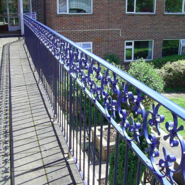 blue metal railings