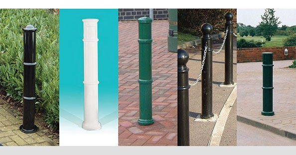 A photo of a series of posts and bollards