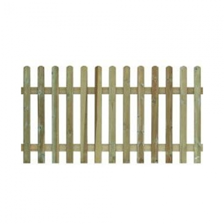 A photo of rounded top palisade fencing