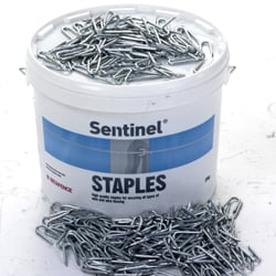 A photo of a tub with metal staples
