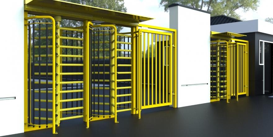turnstile gates in yellow