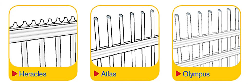In illustration of the Heras Delta Sliding Gate in three styles: Heracles, Atlas and Olympus
